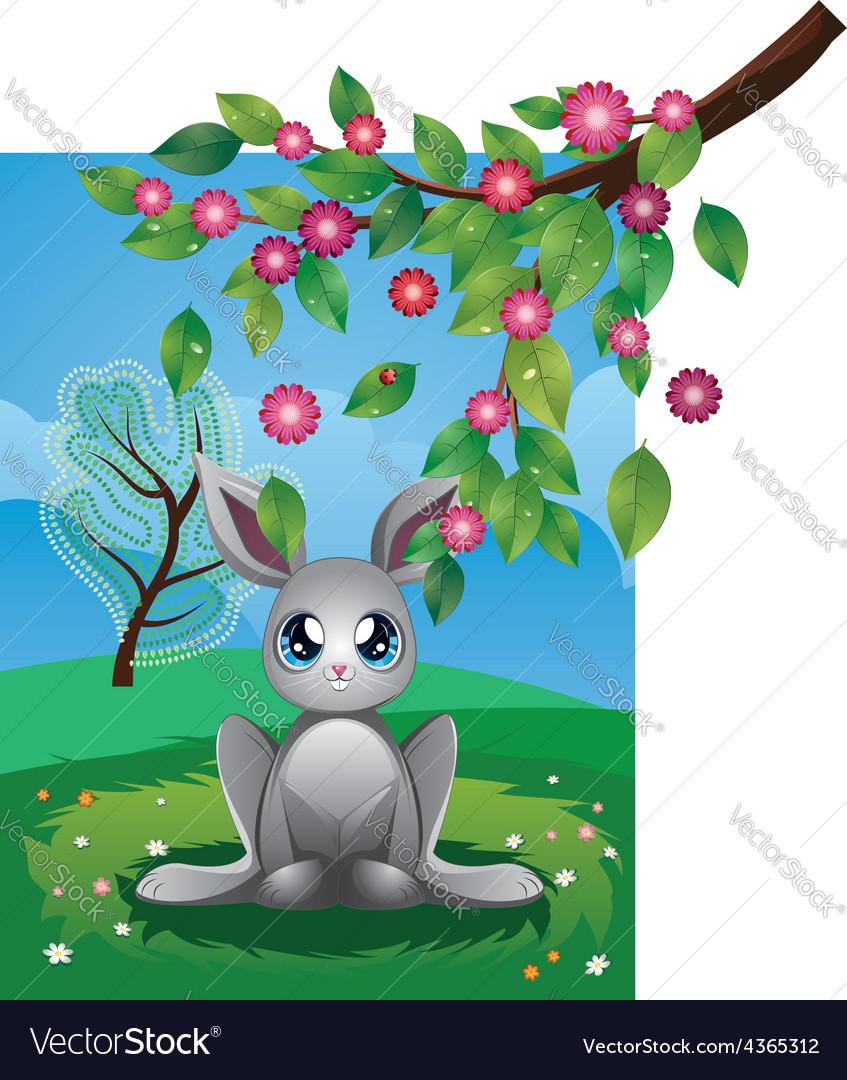 White rabbit on lawn vector | Price: 3 Credit (USD $3)