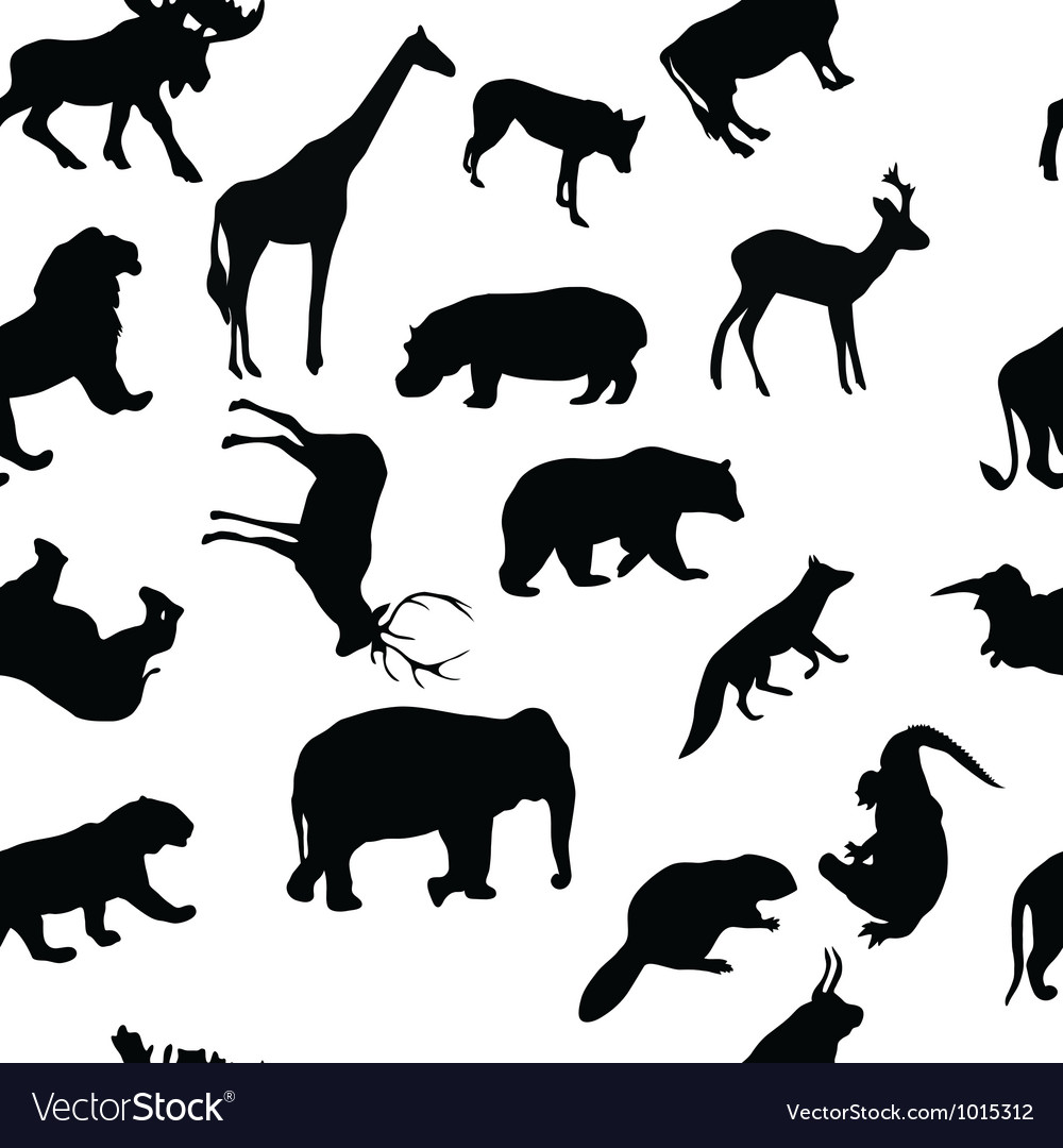 Wild animals seamless pattern background vector | Price: 1 Credit (USD $1)