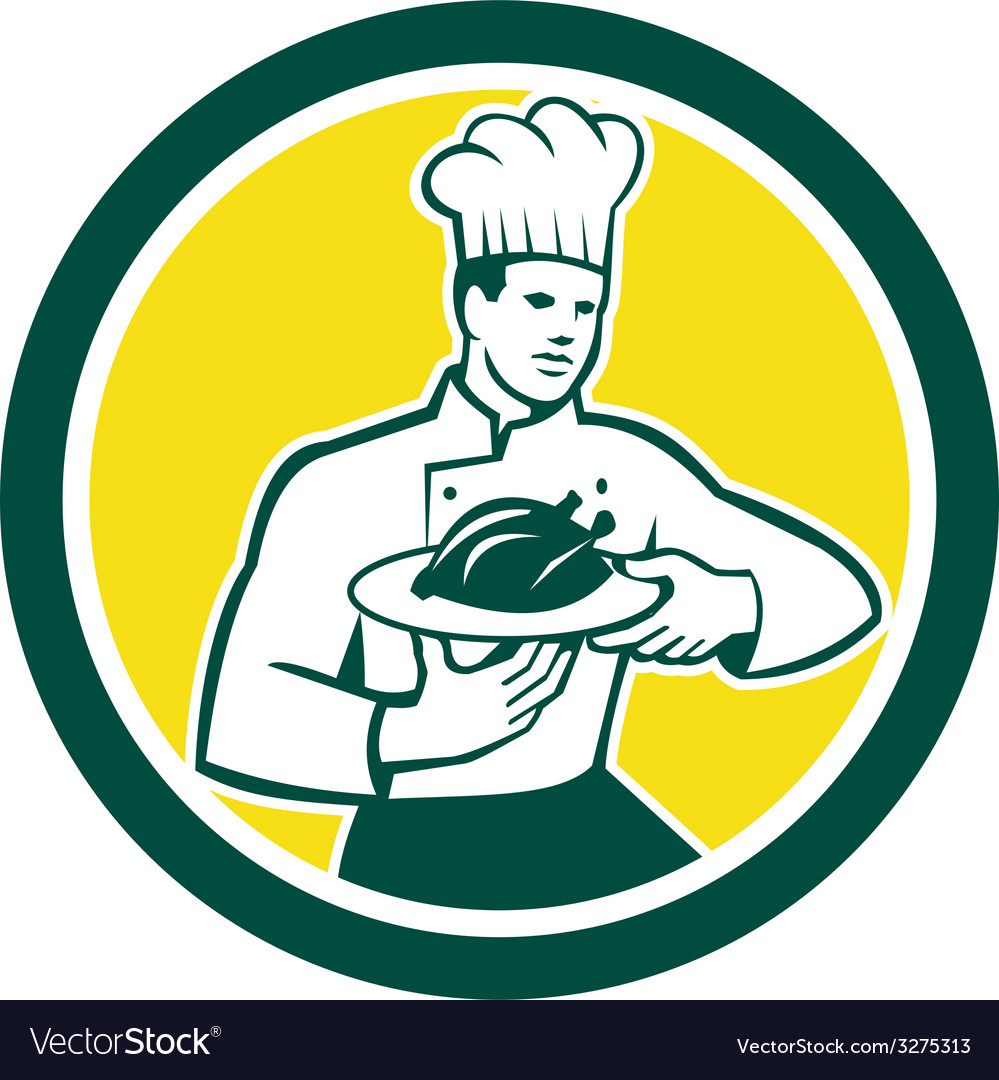 Chef cook serving chicken platter circle retro vector | Price: 1 Credit (USD $1)