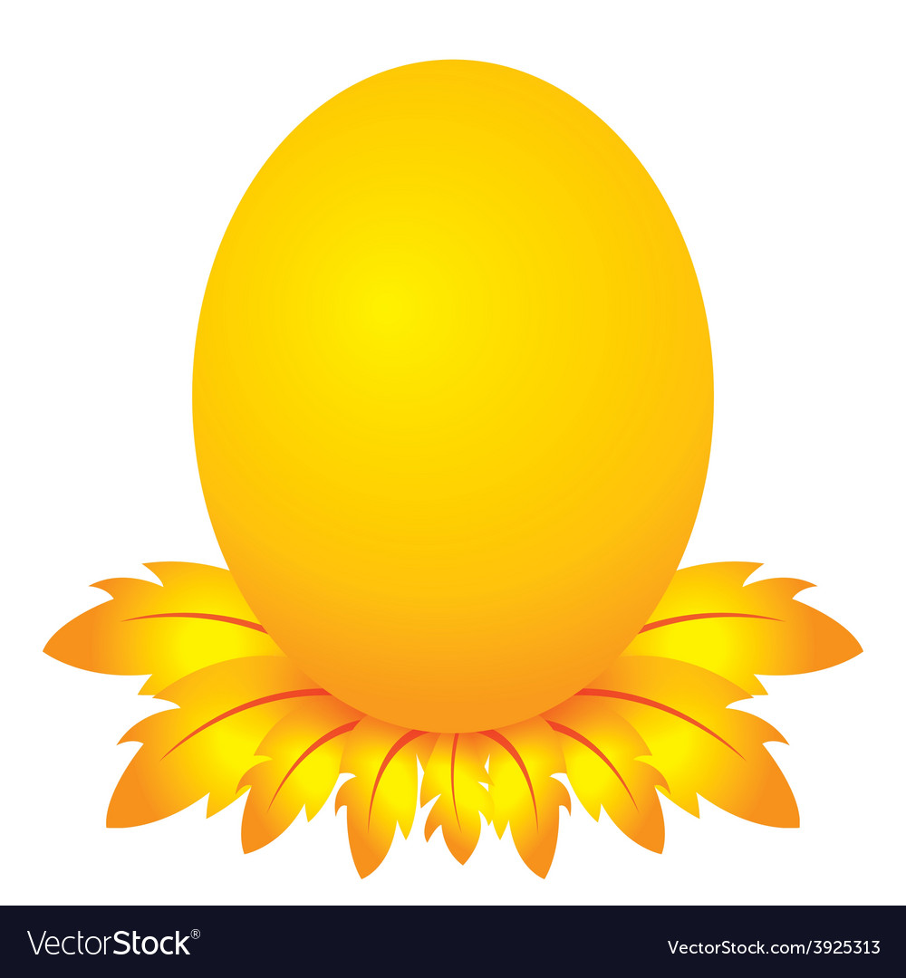 Easter day golden egg cartoon character with feath vector | Price: 1 Credit (USD $1)