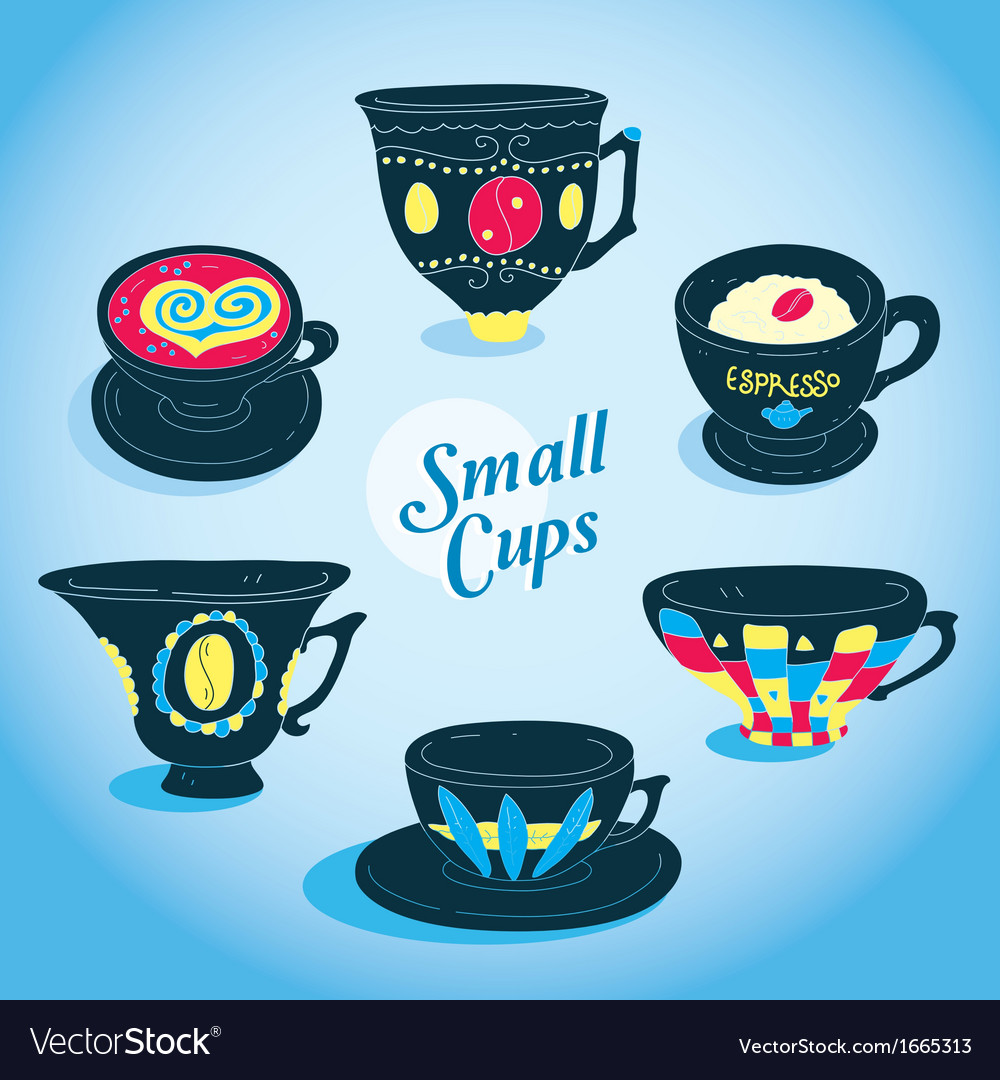 Elegant small cups collection vector | Price: 1 Credit (USD $1)