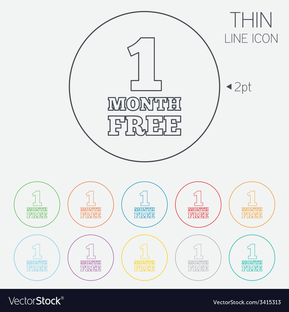 First month free sign icon special offer symbol vector | Price: 1 Credit (USD $1)