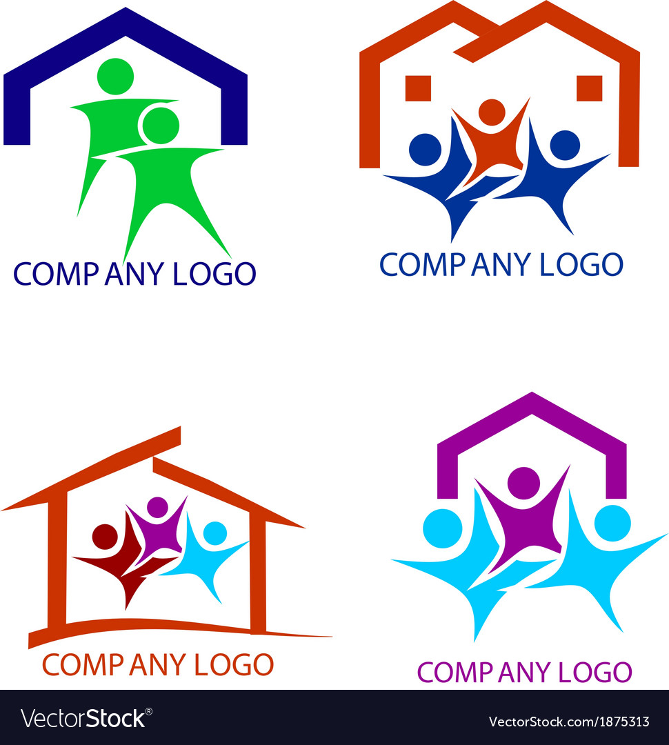 Happy family in a new house logo vector | Price: 1 Credit (USD $1)
