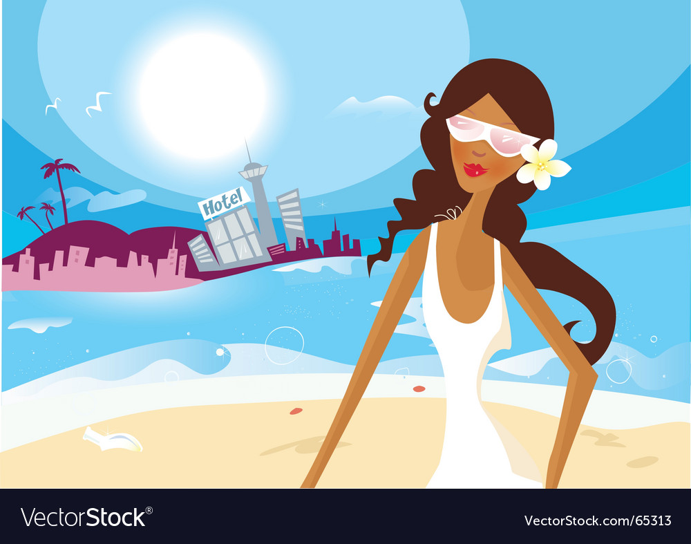 Hot summer girl on vacation vector | Price: 1 Credit (USD $1)