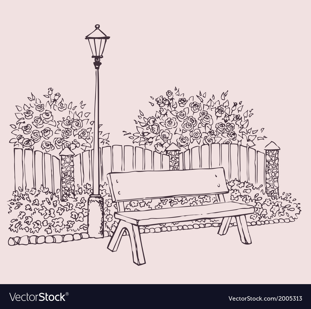 Lantern near bench vector | Price: 1 Credit (USD $1)