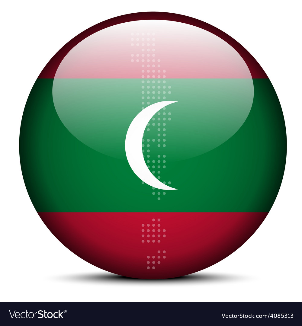 Map with dot pattern on flag button of maldives vector | Price: 1 Credit (USD $1)