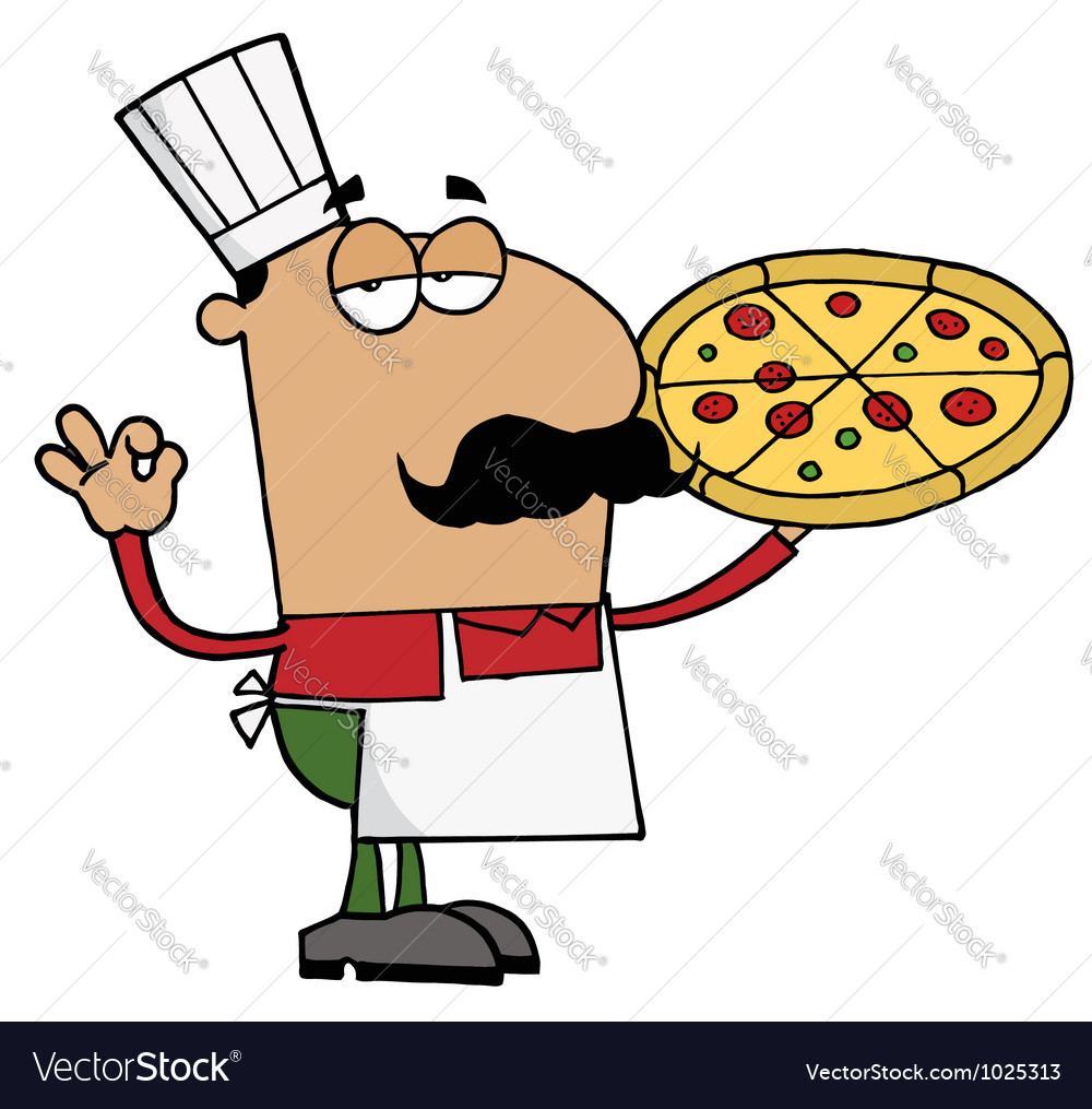 Pleased hispanic pizza chef vector | Price: 1 Credit (USD $1)