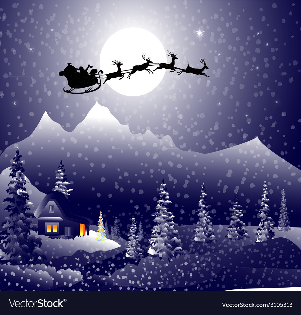 Santa sleigh on christmas night vector | Price: 3 Credit (USD $3)