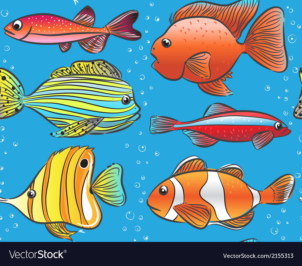 Seamless blue pattern with color fishes vector | Price: 1 Credit (USD $1)