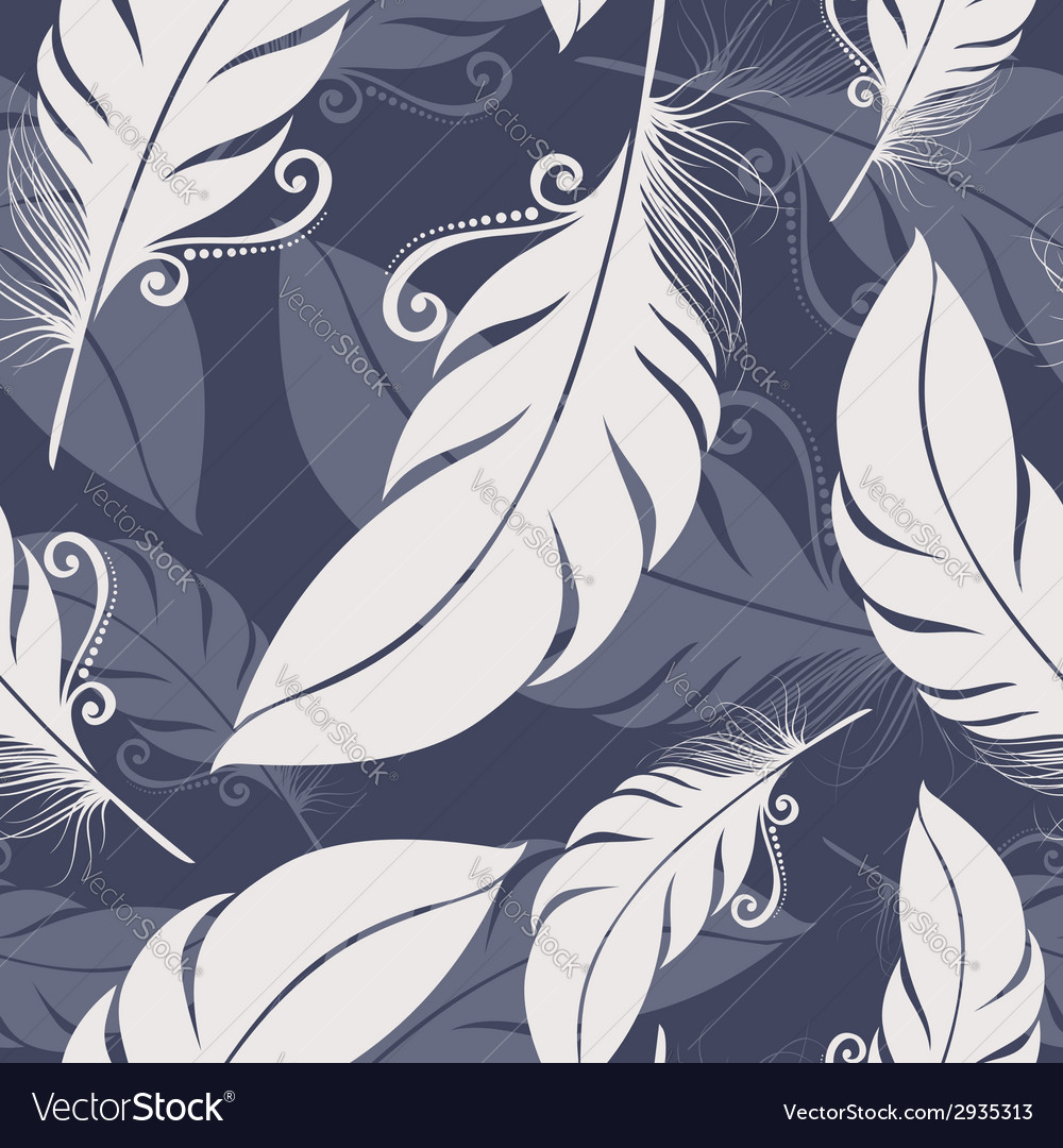 Seamless pattern with feathers vector | Price: 1 Credit (USD $1)