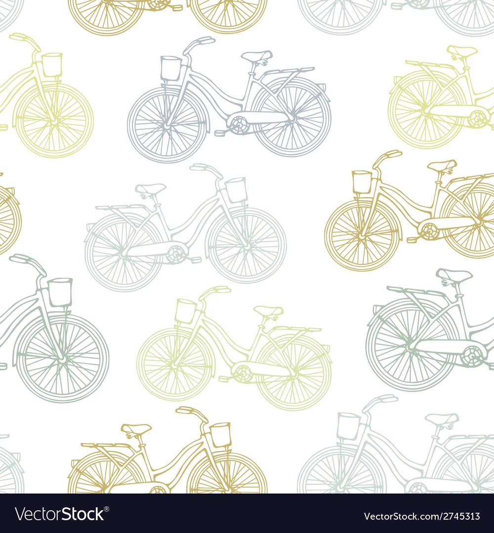 Seamless pattern with outline vintage bicycles vector   Price: 1 Credit (USD $1)