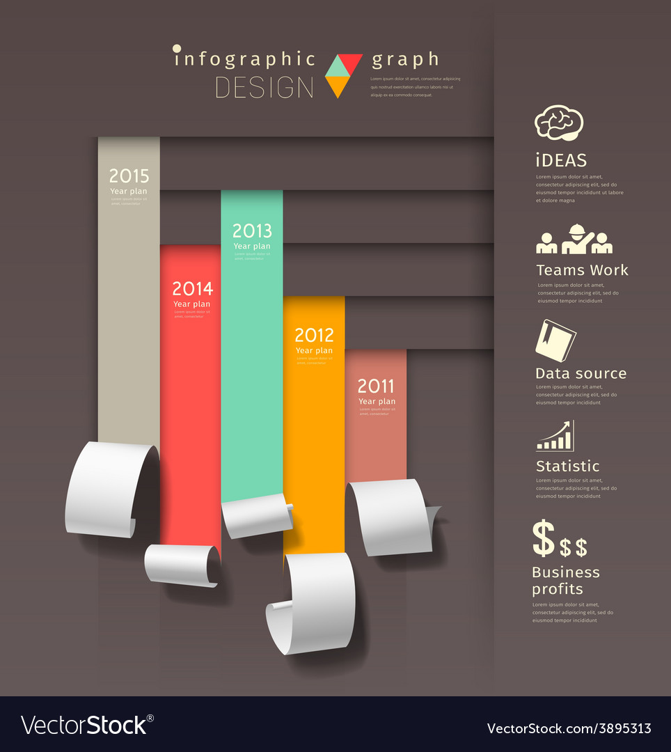Show colorful paper roll infographics graph vector | Price: 3 Credit (USD $3)
