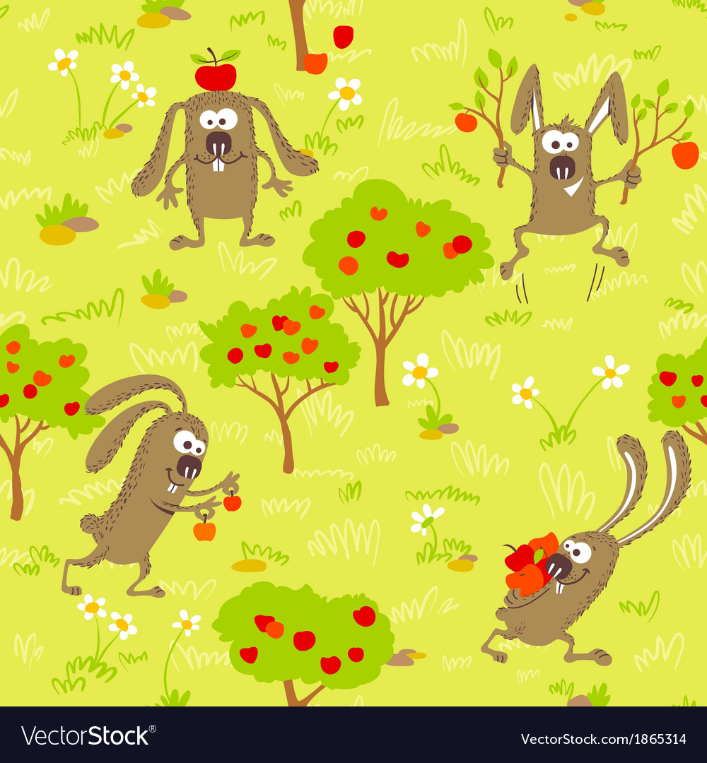 1498bunnies and apples vector | Price: 1 Credit (USD $1)