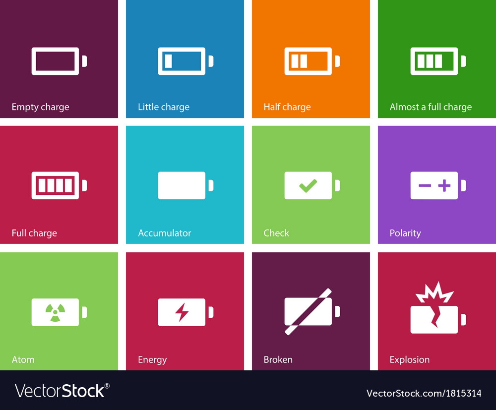 Battery icons on color background vector | Price: 1 Credit (USD $1)