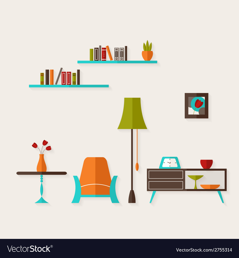 Flat living room over lidht grey vector | Price: 1 Credit (USD $1)