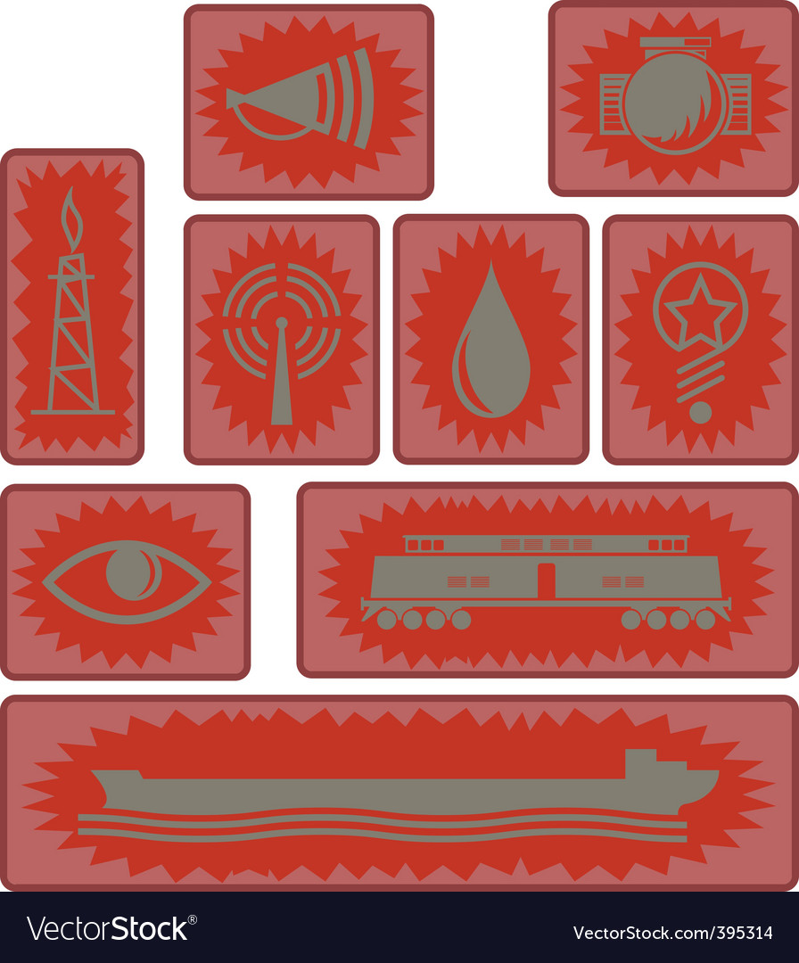 Industrial age icons and symbols vector | Price: 1 Credit (USD $1)