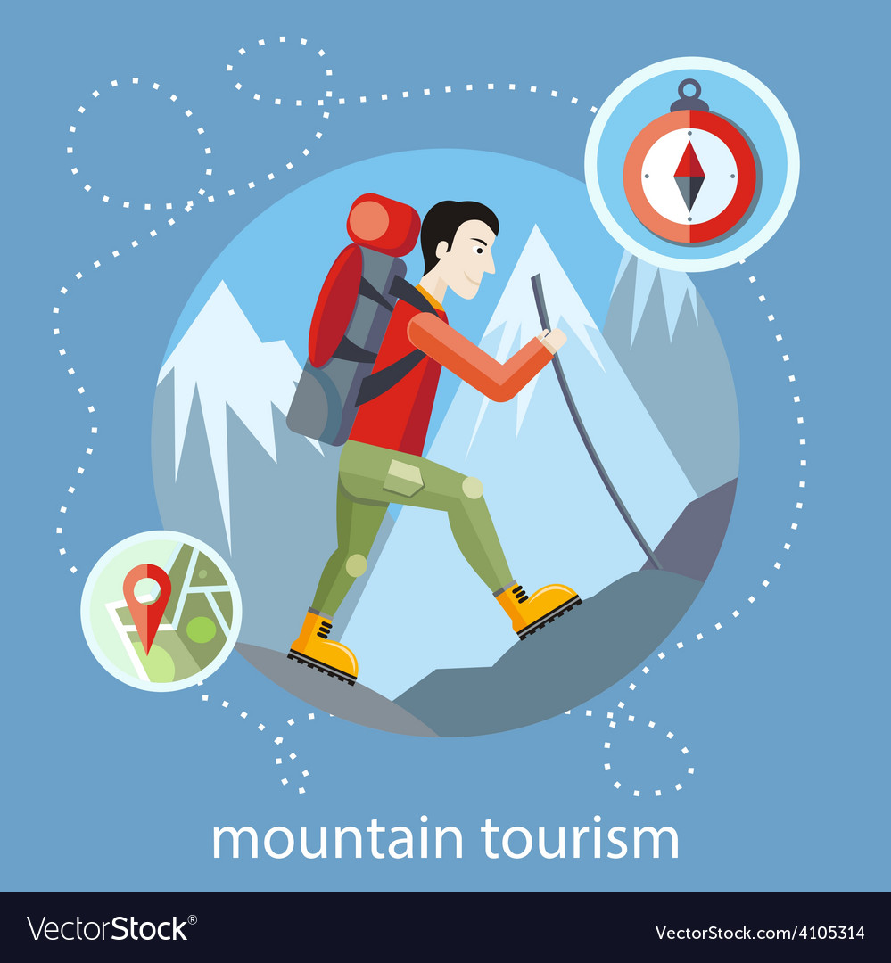 Mountain tourism vector | Price: 1 Credit (USD $1)