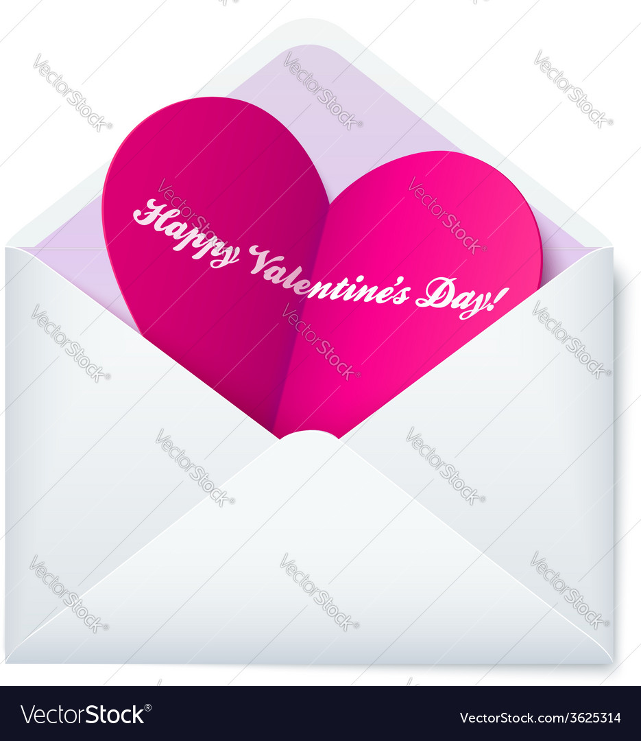 Pink folded heart in white paper envelope vector   Price: 1 Credit (USD $1)