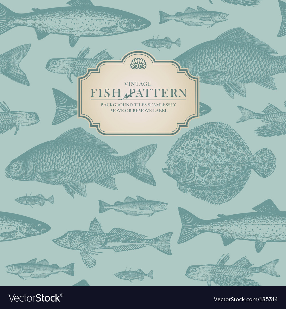 Retro fish pattern vector | Price: 1 Credit (USD $1)