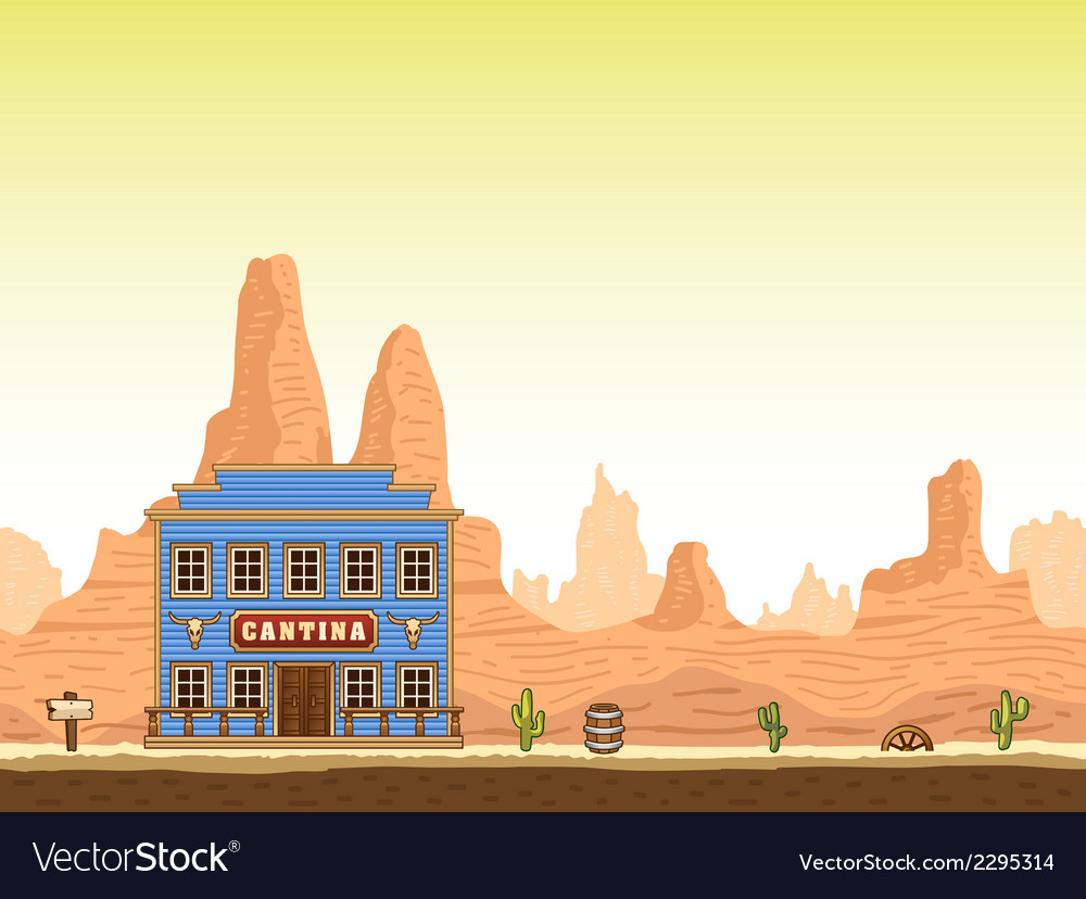 Wild old west canyon background with cantina vector | Price: 1 Credit (USD $1)