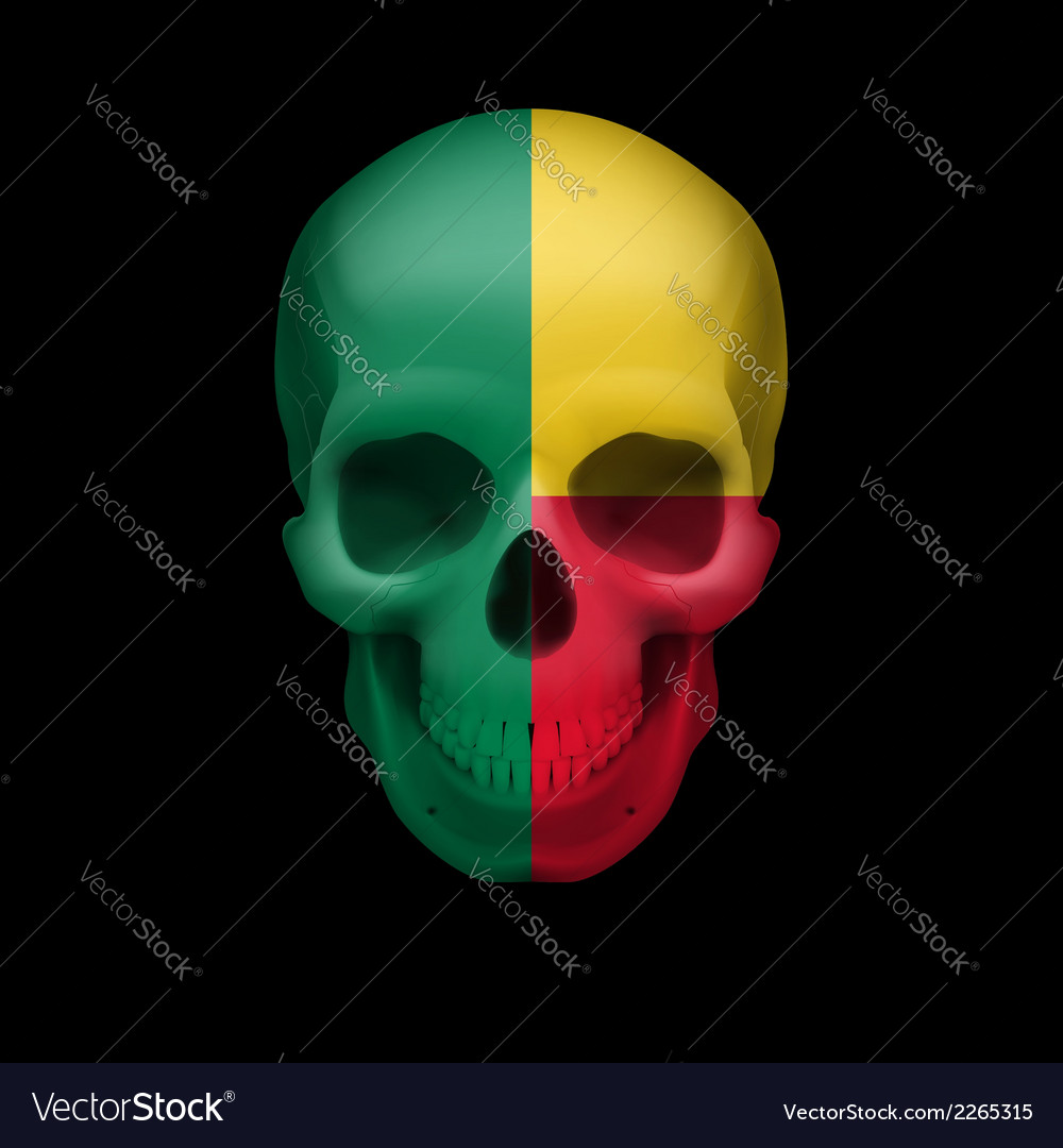 Beninois flag skull vector | Price: 1 Credit (USD $1)