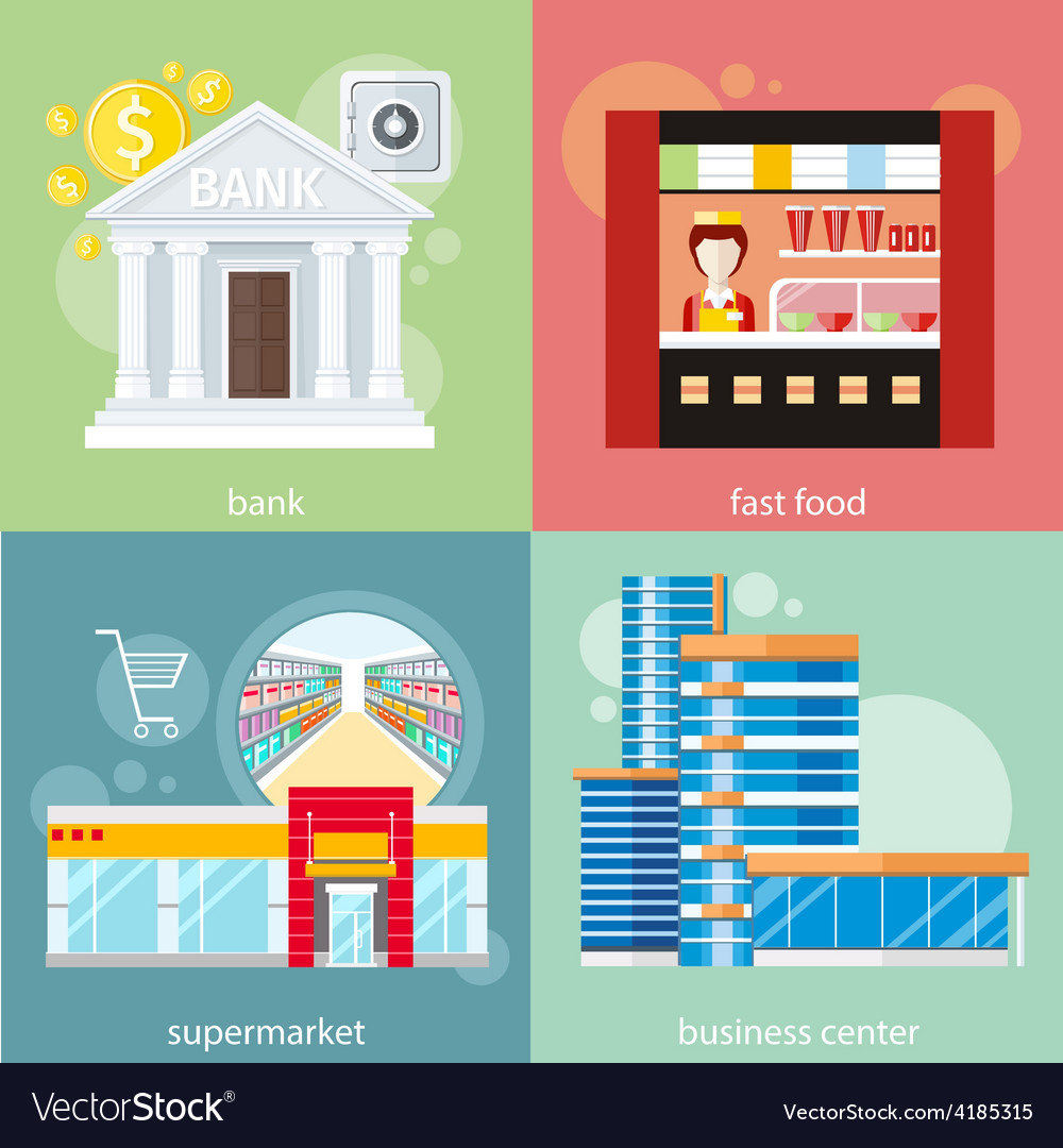 Business center supermarket bank fast food vector | Price: 1 Credit (USD $1)