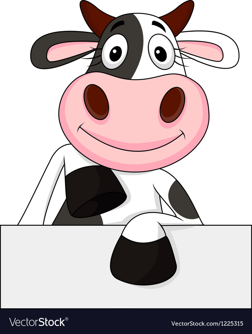 Cute cow with blank sign vector | Price: 3 Credit (USD $3)