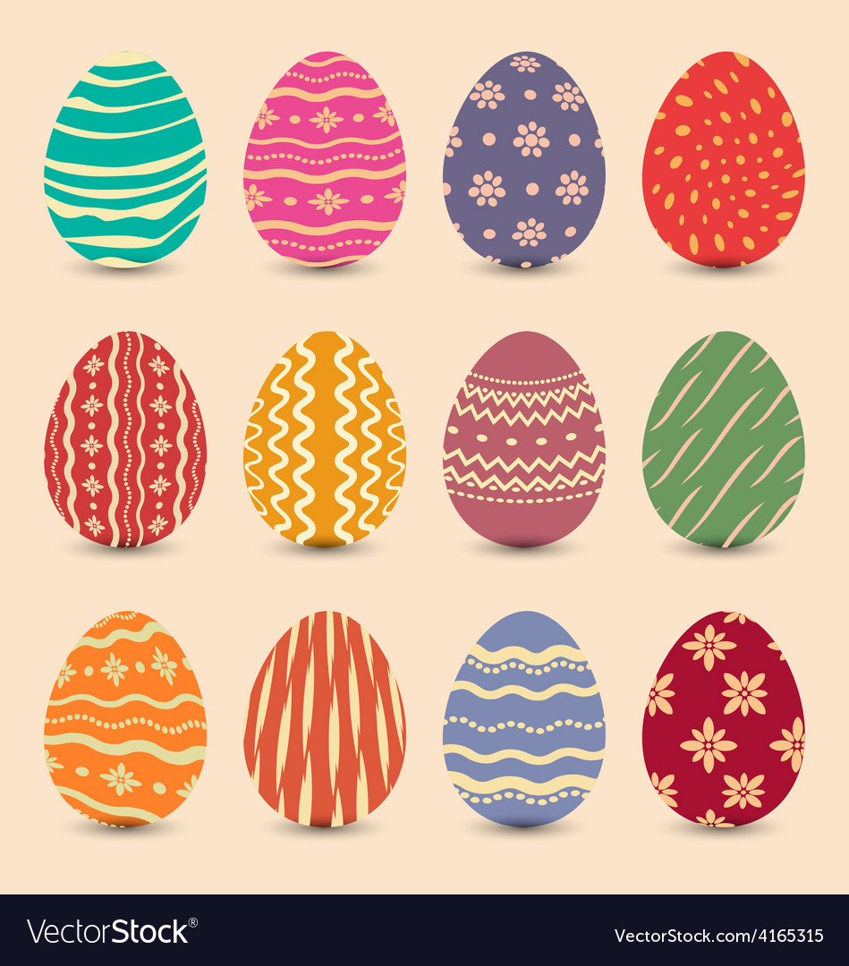 Easter set vintage ornate eggs with shadows vector | Price: 1 Credit (USD $1)