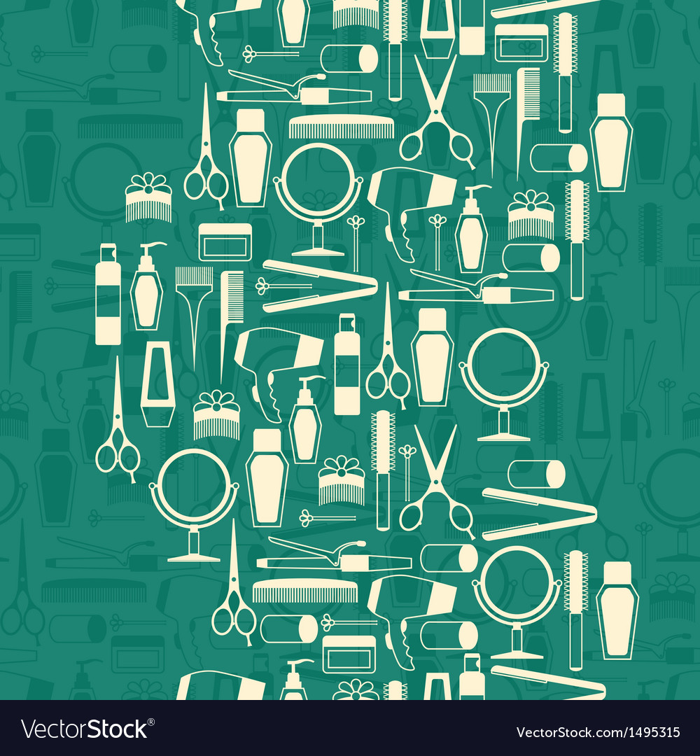 Hairdressing tools seamless pattern in retro style vector | Price: 1 Credit (USD $1)