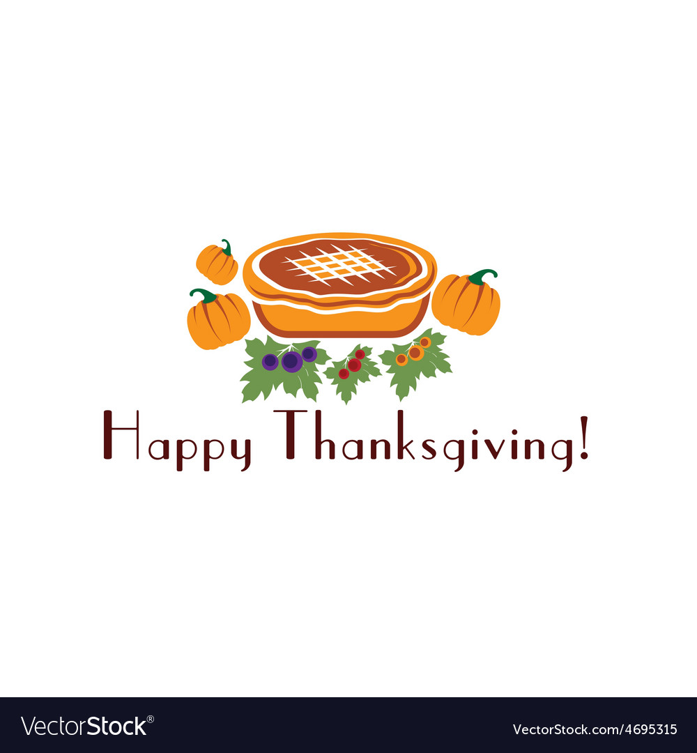 Happy thanksgiving with pie and pumpkins vector | Price: 1 Credit (USD $1)