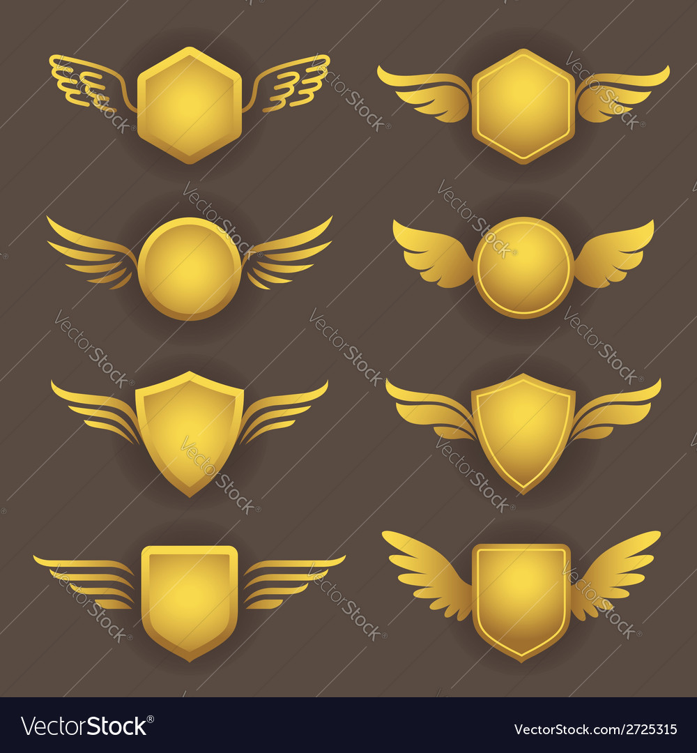 Heraldic shapes with wings vector | Price: 1 Credit (USD $1)
