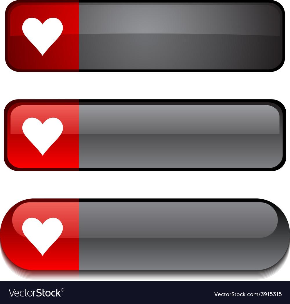 Love button set vector | Price: 1 Credit (USD $1)