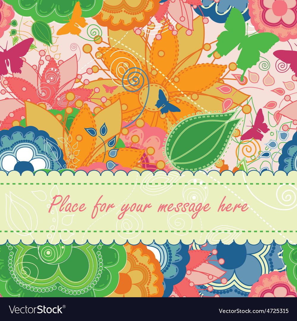 Modern floral greeting card vector | Price: 1 Credit (USD $1)