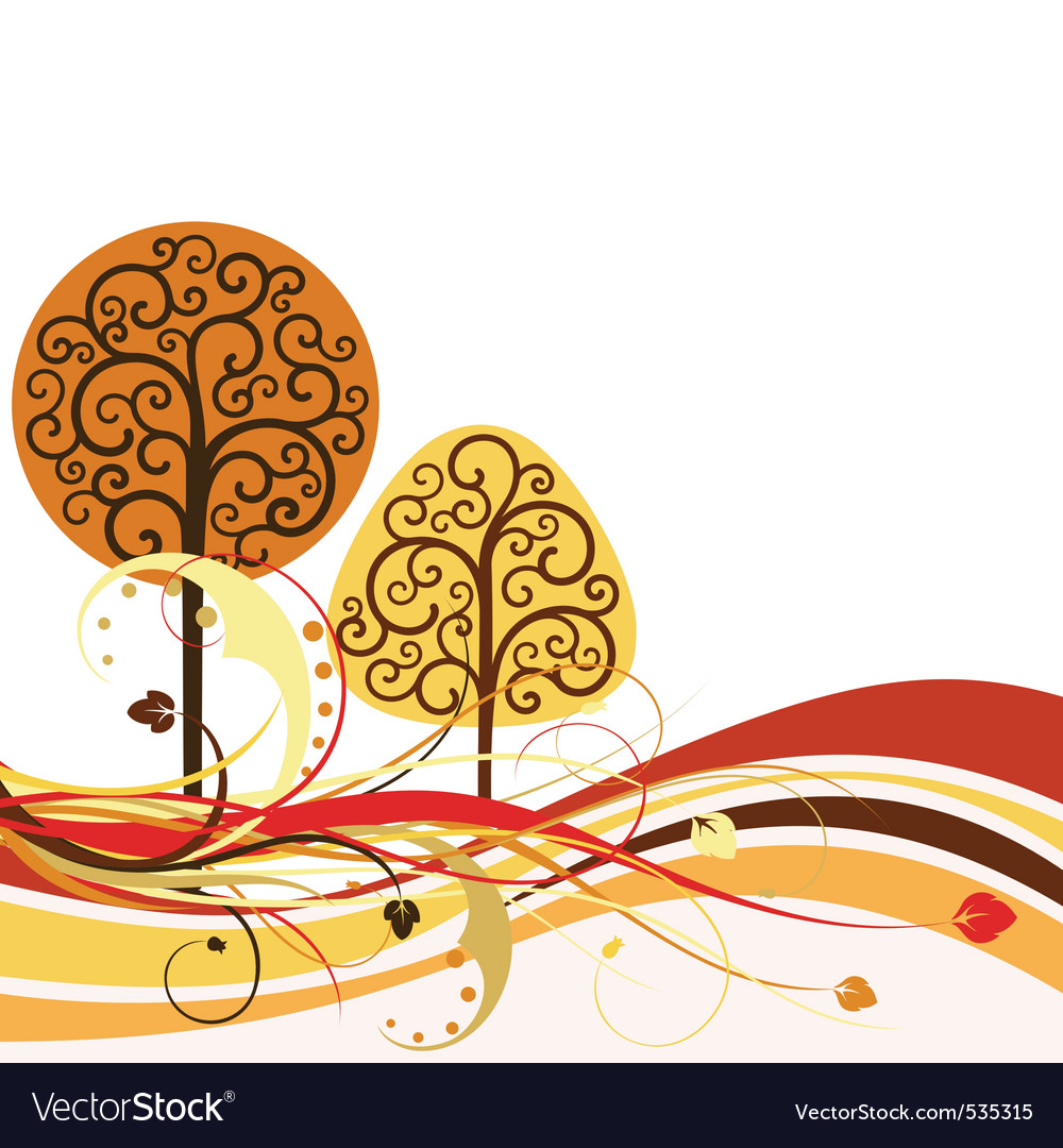 Op with swirly trees vector vector | Price: 1 Credit (USD $1)