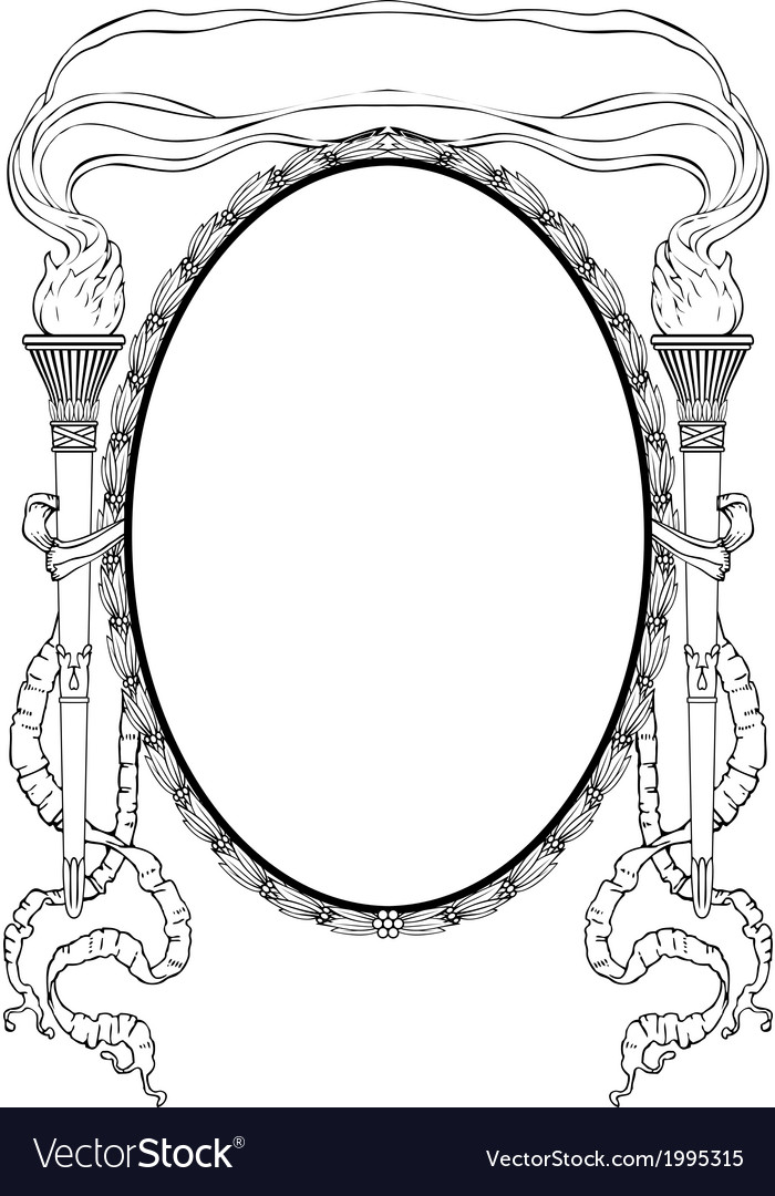 Oval frame with torch light ribbons for portrait vector | Price: 1 Credit (USD $1)