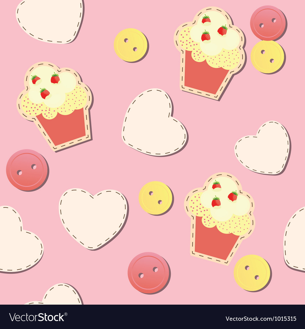 Seamless pattern with cute cupcakes vector | Price: 1 Credit (USD $1)