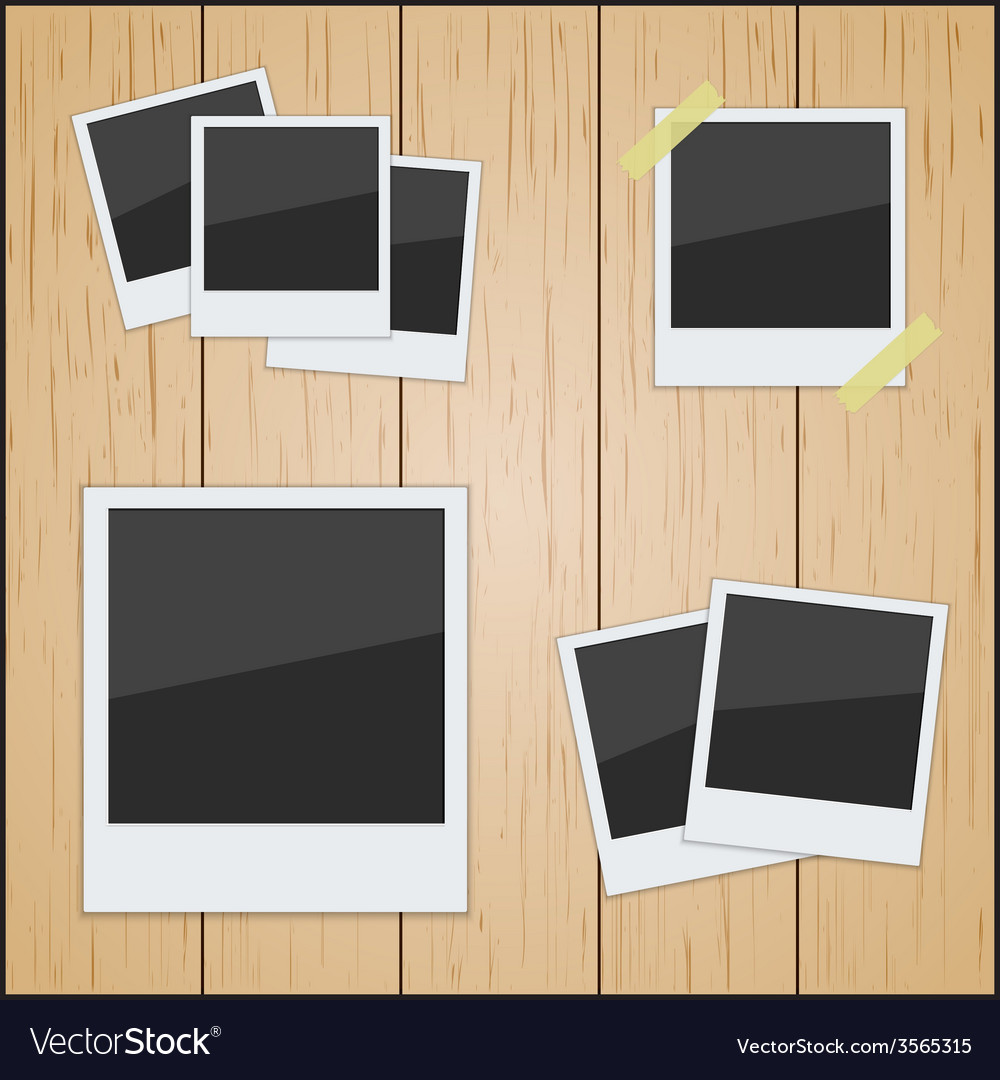 Set of pictures on a wooden texture vector | Price: 1 Credit (USD $1)