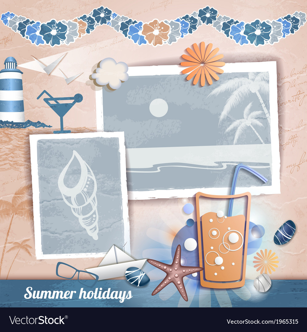 Summer scrapbooking photo album vector | Price: 1 Credit (USD $1)