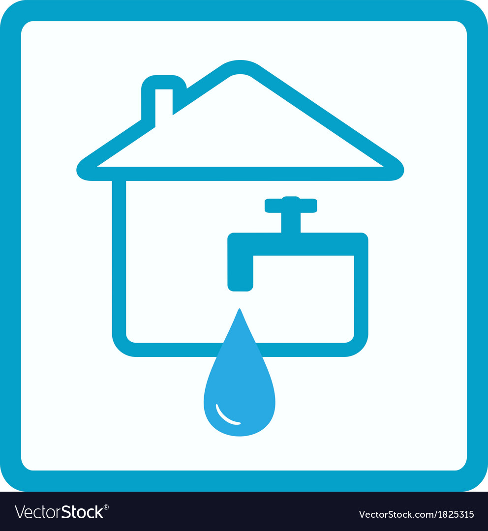 Water in house with silhouette of faucet vector | Price: 1 Credit (USD $1)