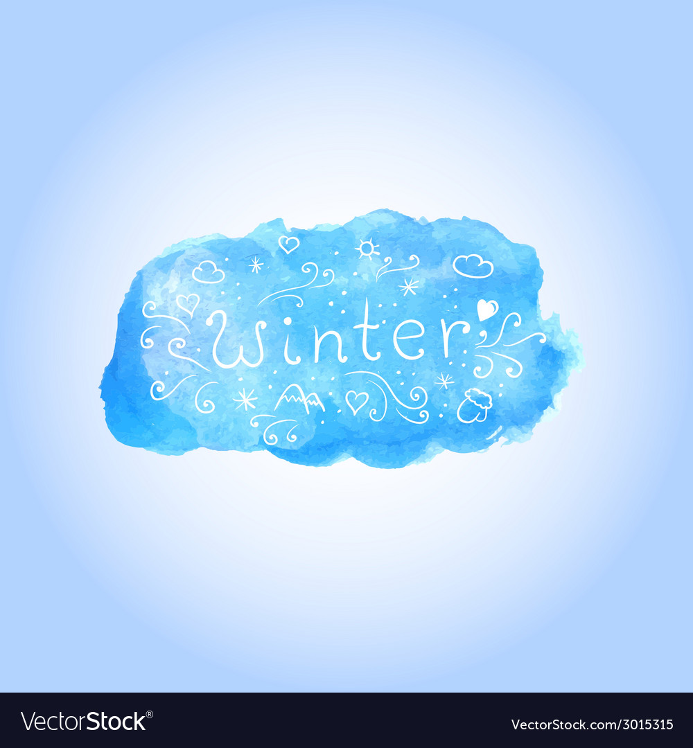 Watercolor winter poster with hand drawn text vector | Price: 1 Credit (USD $1)