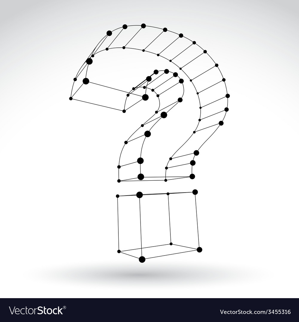 3d mesh stylish monochrome web question mark sign vector | Price: 1 Credit (USD $1)