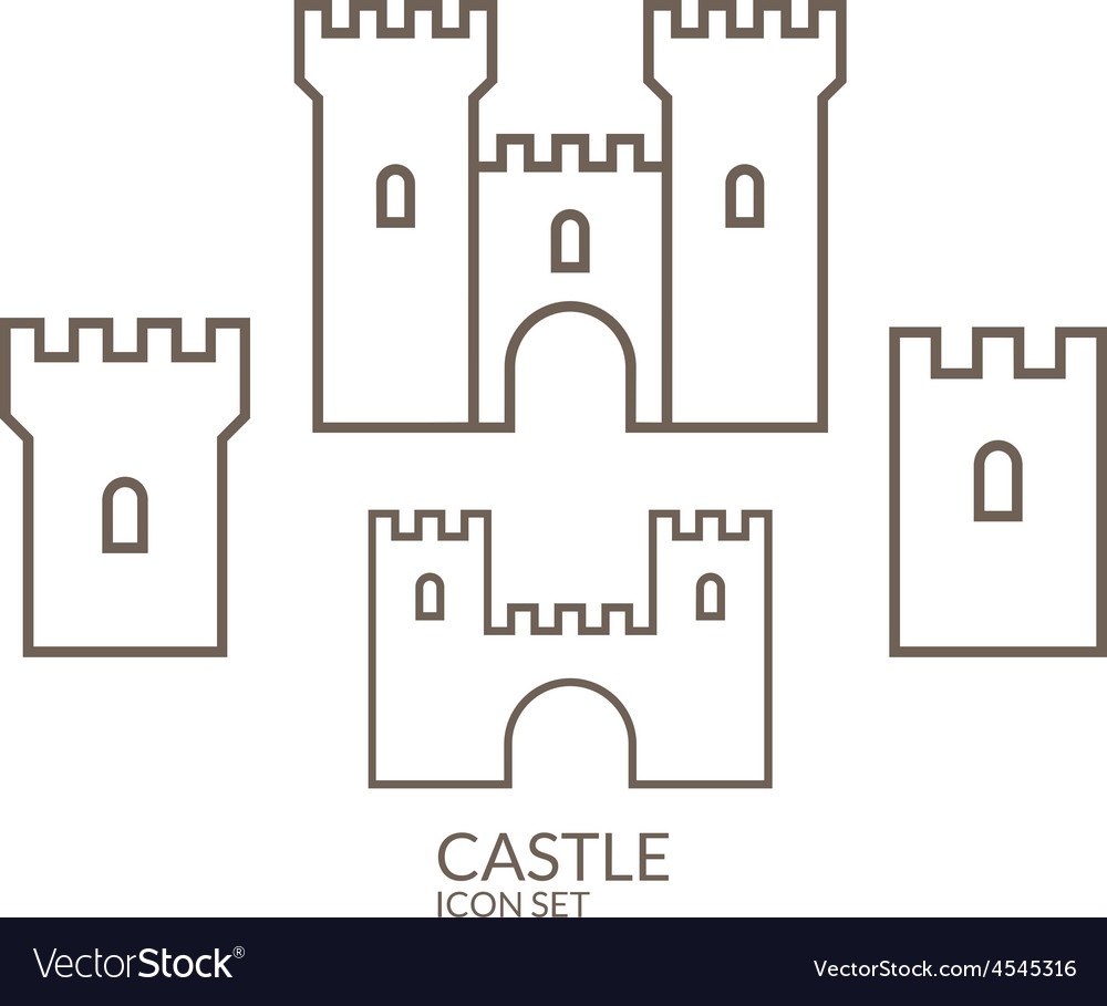 Castle icon set outline vector | Price: 1 Credit (USD $1)