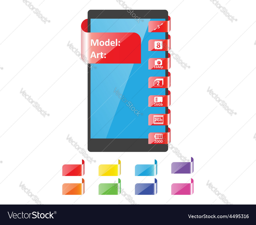 Colors label feature for smartphone vector | Price: 1 Credit (USD $1)