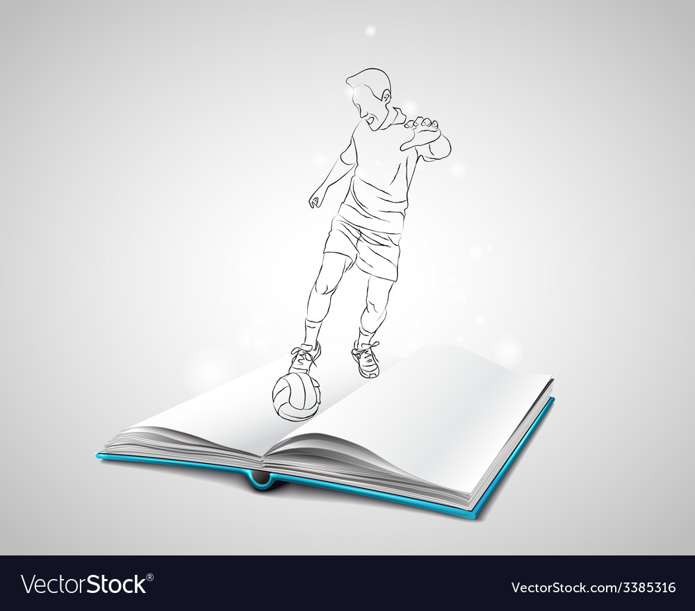 Doodle man playing football vector | Price: 1 Credit (USD $1)