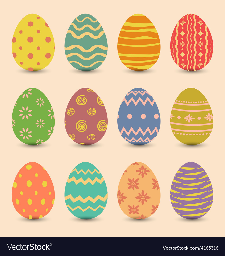Easter set old ornamental eggs with shadows vector | Price: 1 Credit (USD $1)