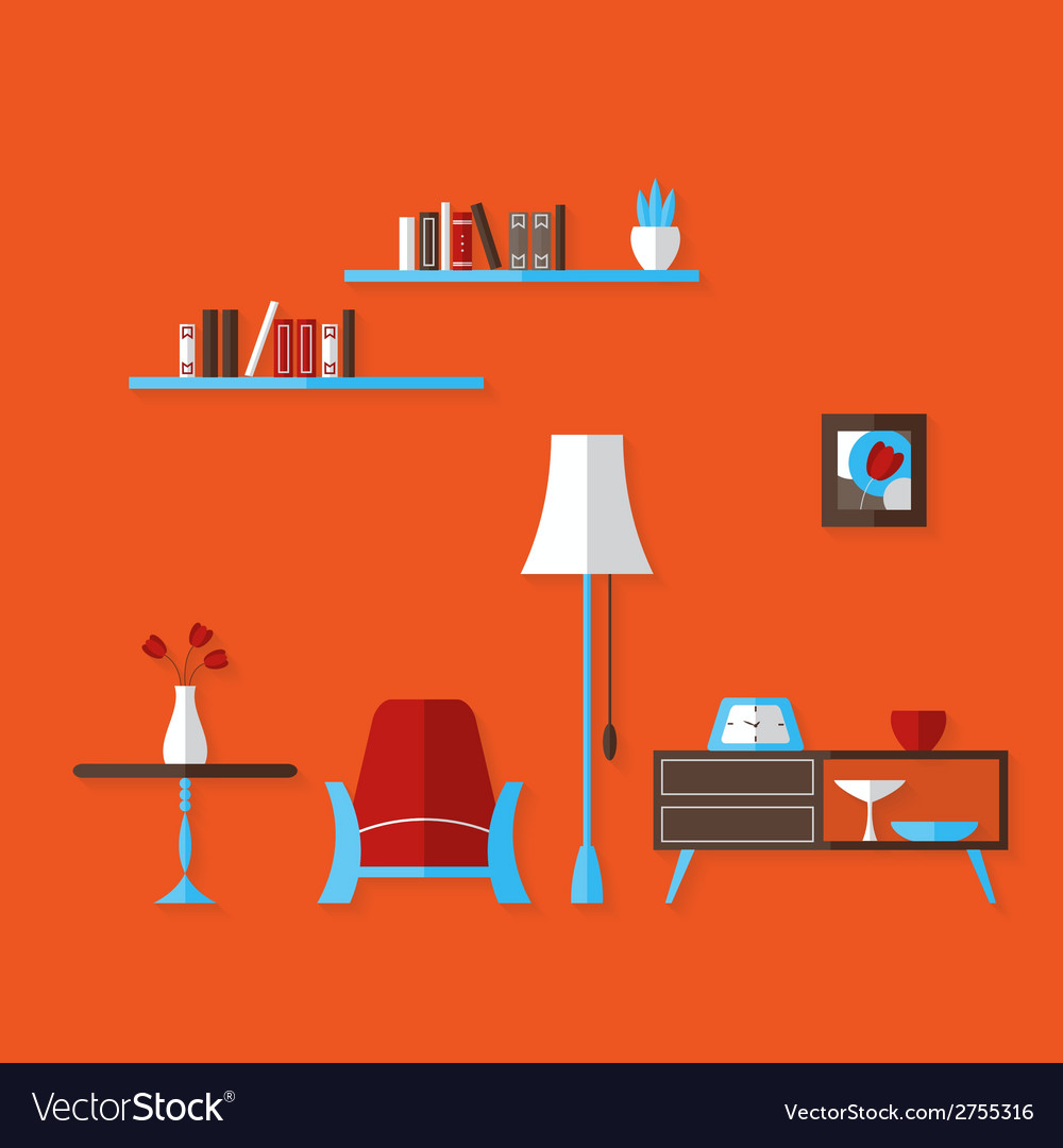 Flat living room over red vector | Price: 1 Credit (USD $1)