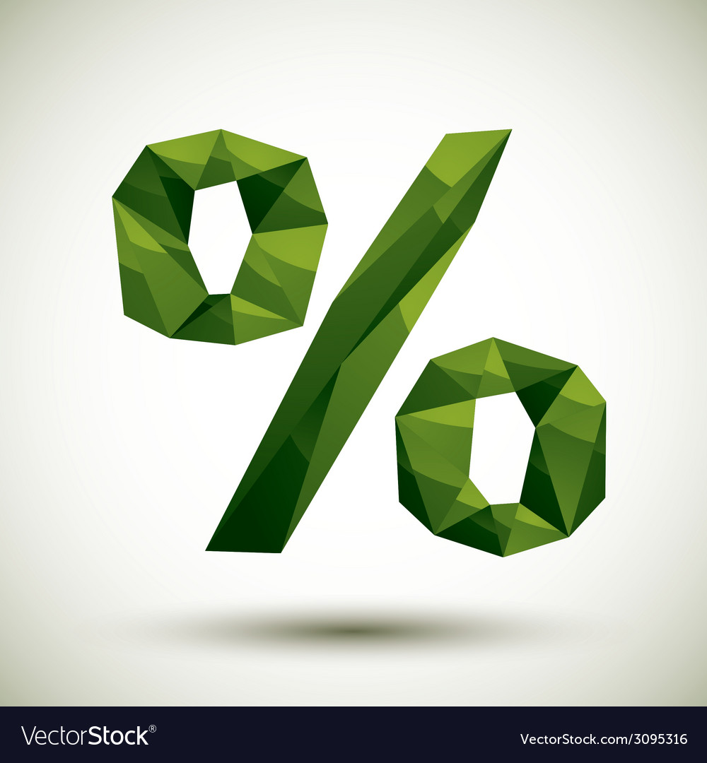 Green percent geometric icon made in 3d modern vector | Price: 1 Credit (USD $1)