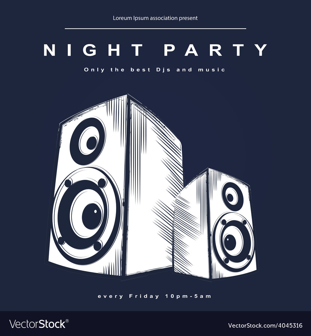 Party poster night club poster vector   Price: 1 Credit (USD $1)