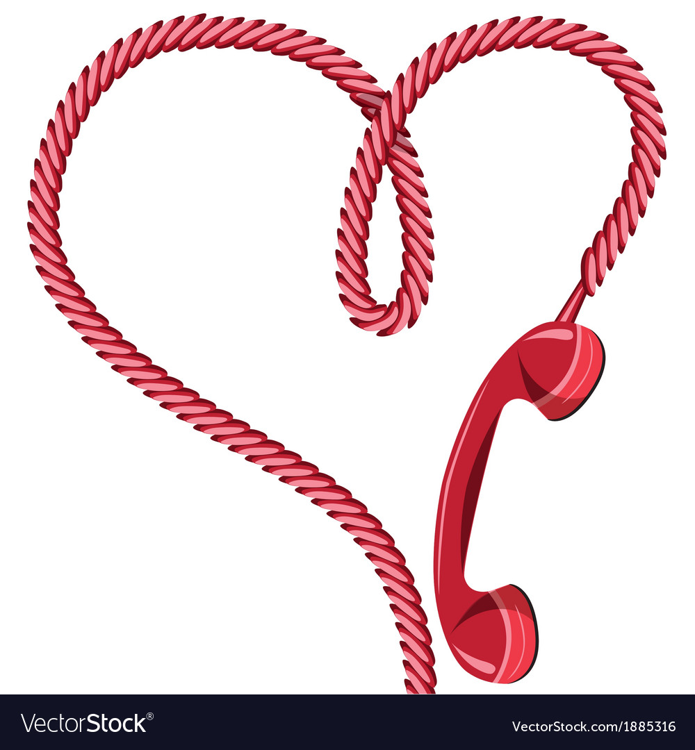 Phone receiver heart vector | Price: 1 Credit (USD $1)