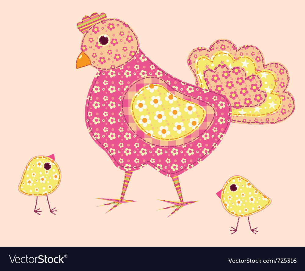 Stitched hen and chickens vector | Price: 1 Credit (USD $1)